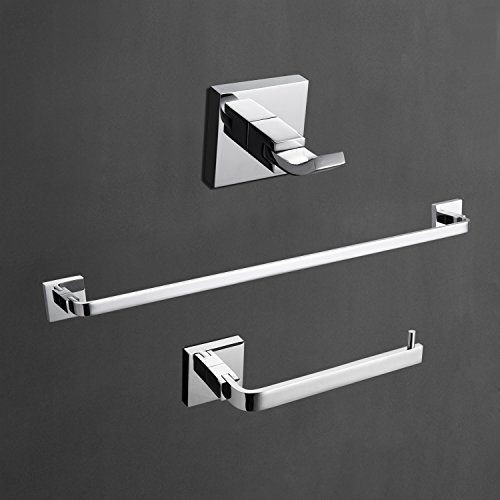 LightInTheBox Contemporary Solid Brass Bathroom 3 PCs Set Wall Mount Chrome Finish Towel Robe Hook/Toilet Paper Holders/Towel Bar Sets Lavatory Shower Furniture (Silver) ()