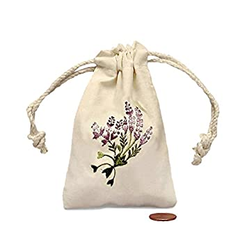 Amazon.com: Lavanda Mini bordado bolsa de muselina 3