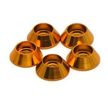 Aluminum Bolts And Nuts (5Pcs M3 Aluminum Alloy Cone Cup Head Screw Gasket Countersunk Washer - Nuts And Bolts - Anodized Washers (Orange))