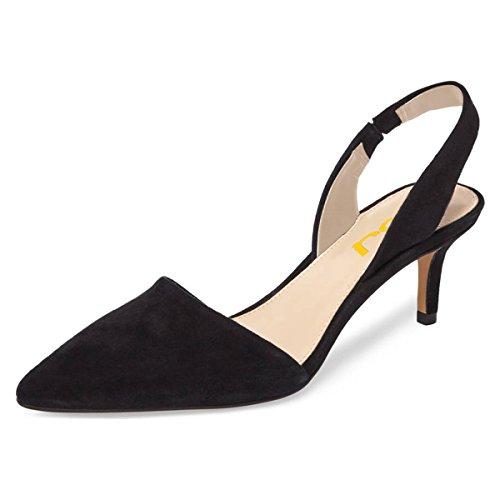 Sling Black Shoes - FSJ Women Fashion Low Kitten Heels Pumps Pointed Toe Slingback Sandals Dress Shoes Size 9 Black