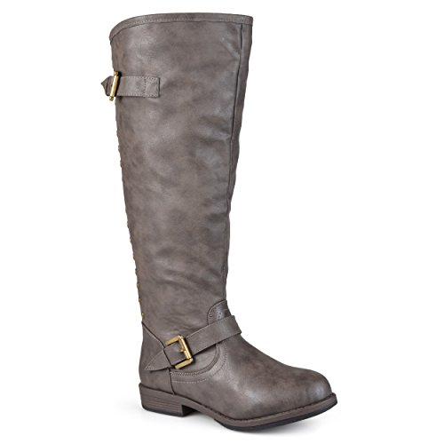 - Journee Collection Womens Regular Sized and Wide-Calf Studded Knee-High Riding Boots Taupe, 11 Wide Calf US