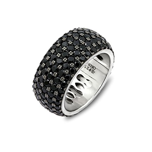 DIAMONBLISS Black Rhodium Plated Sterling Silver 3.90 ct tw Black Spinel 5-Row Sterling Eternity Ring Size-8 (3.90 Ring)