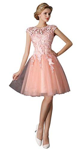 Vimans® Women's Elegant Short Scoop Bowknot Lace Formal Dresses, Pink (Bowknot Embellished Short)