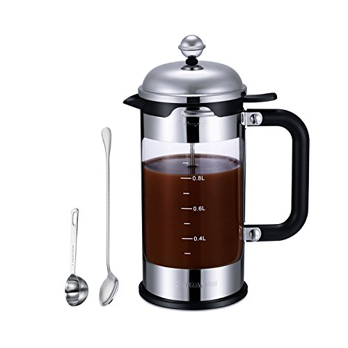 HoneyGuaridan French Press Coffee Maker 8 Cup (1 liter, 34 oz), 4 Level Filtration System, Stainless Steel with Measuring Glass,Free Superior Stainless Steel Measuring Spoon and Mixing Spoon