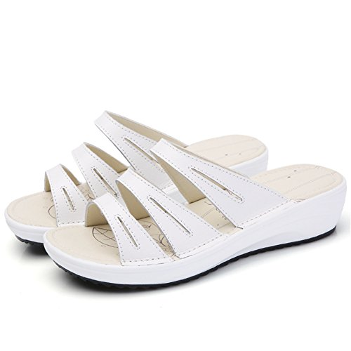 3d52138366d81 On 858 Heel Open Sandals Leather HKR Mid White Toe Platform Shoes Slide   Image is loading WOMENS-GOLD-FLAT-TOE-POST-THONG-FLIP ...