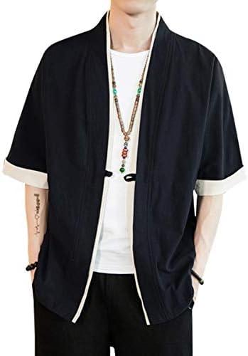 Dreambuilder(ドリームビルダー)夏服 メンズ 和式パーカー 五分袖 カーディガン コート 無地 和風 羽織 一つボタン シンプル トップス ゆったり カジュアル おしゃれ M~5XL