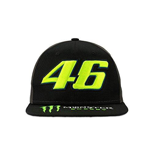 (2018 VR46 Valentino Rossi #46 MotoGP Adult Flat Brim Cap Black Monster Energy)