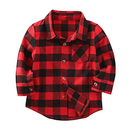 C&M Wodro Kids Little Boys Girls Baby Letters Print Long Sleeve Button Down Red Plaid Flannel Shirt (Red Plaid-2, 2T (1-2 Years))