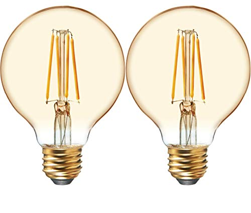 GE Lighting 42173 Amber Glass Light Bulb Dimmable LED Vintage Style G25 Decorative Globe 4.5 (40-Watt Replacement), 280-Lumen Medium Base, 2-Pack