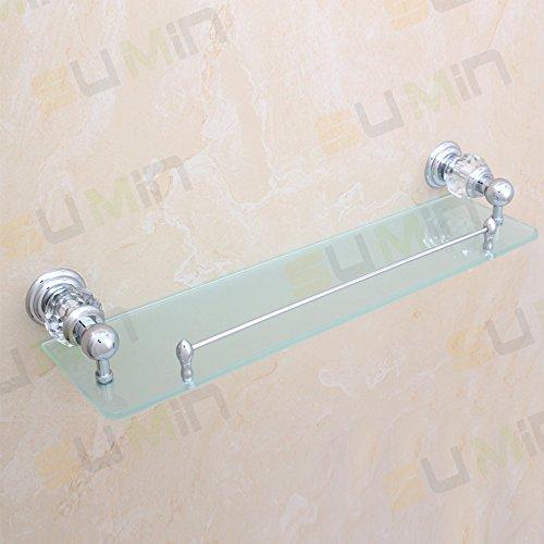Sumin Home QC2213MC Modern Luxury Crystal Wall Mounted Wall Mounted Bathroom Glass Shelf, Chrome by Sumin Home (Image #5)