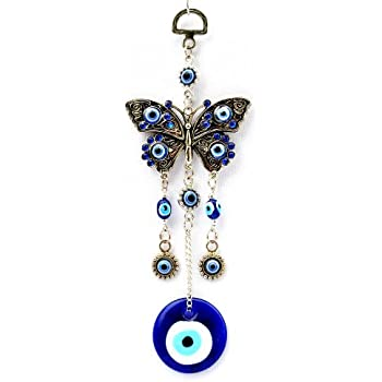 Betterdecor Blue Evil Eye with Butterfly Hanging Decoration Ornament (with a Pouch)-003