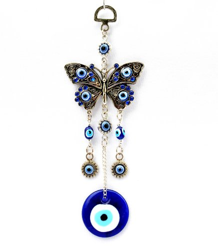 Blue Evil Eye with Butterfly Hanging Decoration Ornament ( with a Betterdecor Pouch)-003 - Eye Picture