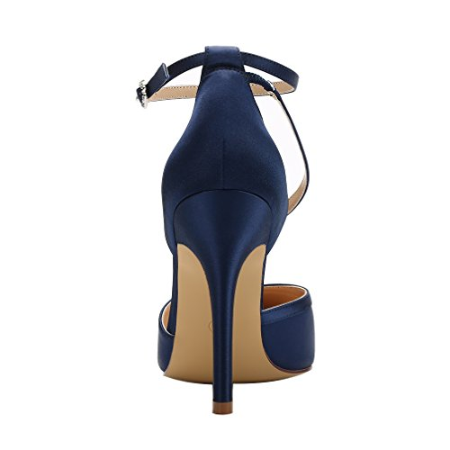 Prom Dress Wedding Evening Strap S Satin Shoes Women Pumps Ankle High Tie ERIJUNOR Navy Heel wxvYazwq