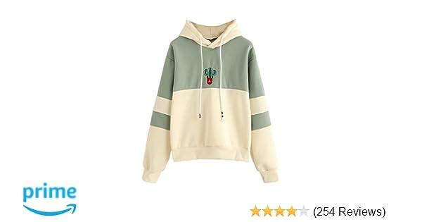 SweatyRocks Womens Long Sleeve Colorblock Pullover Fleece Hoodie Sweatshirt  Tops at Amazon Women s Clothing store  03f8fa898