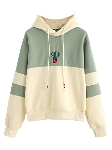 Long Sleeve Color Block Cactus Embroidered Pullover Hoodies Beige_Green XXL ()