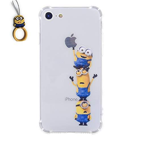 求人乳白淡いG?Watanabe 怪盗グルー ミニオンズ iphone7 iphone8 ケース TPUクリアソフトケース  ミニオンオリジナルストラップ 付(iphone8 iphone7, 2)