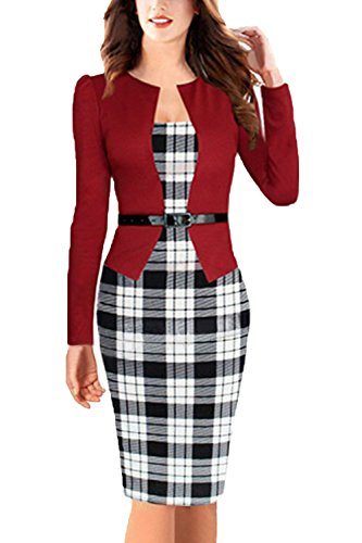 Women's Elegant Colorblock Belted Wear to Work Business Bodycon Dress,4X,Small Grid