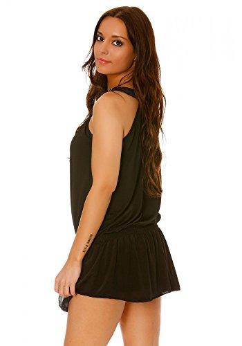 Top dmarkevous de noche larga con cuello redondo, color marrón negro