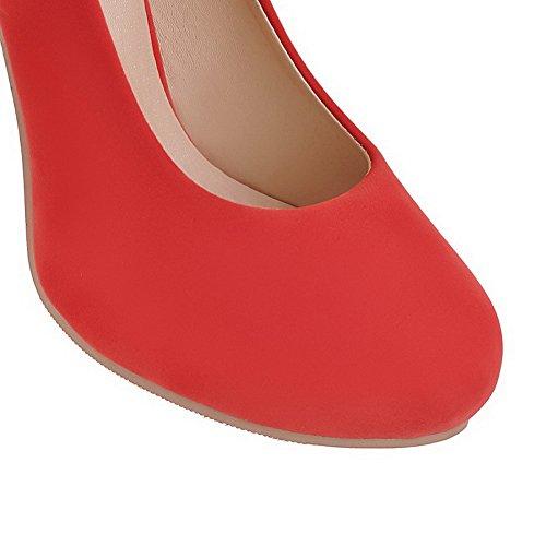 Amoonyfashion Femmes Givré Ronds Bout Fermé Talons Hauts Pull-on Solide Chaussures-chaussures Rouge
