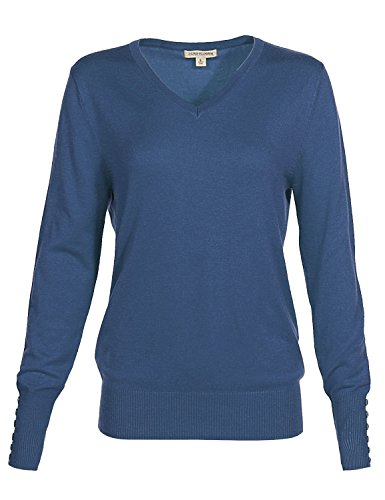 Body Mist Mix (Luna Flower Women's Classic Basic Solid V-Neck Knit Long Sleeve Ribbed Button Details Tops Pullovers Sweaters BLUE_MIST L)