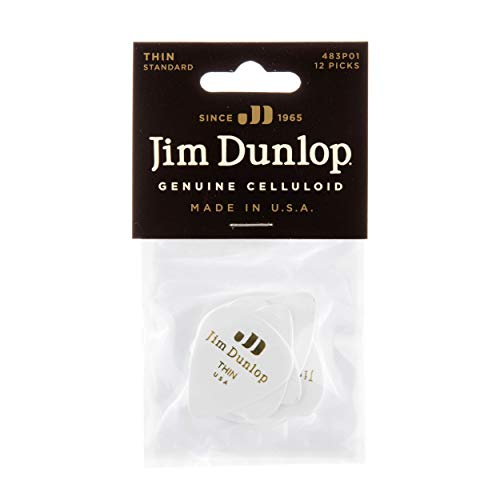 (Dunlop 483P01TH Genuine Celluloid, White, Thin, 12/Player's Pack)