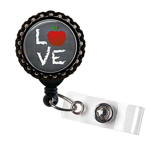Teacher Love Resin Black Retractable Badge Reel ID Holder