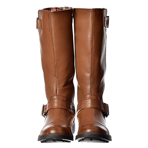 Rocket Dog Women's Terry Vintage Worn / Bromley Flat Mid Calf High Biker Boots - Brown, Black Vintage or Bromley UK7 - EU40 - US9 - AU8 Brown (Vintage Flat Boots)