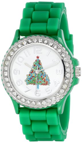 Geneva Womens 5573_xmasgreentree Holiday Boyfriend White Dial with Christmas Tree and Crystals Watch