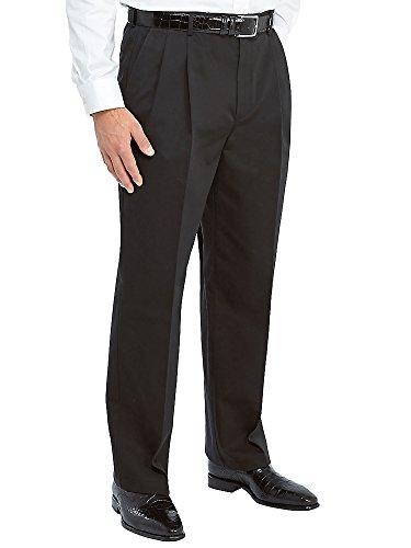 Paul Fredrick Men's Non-Iron Cotton Chino Pleated Pants Black 54