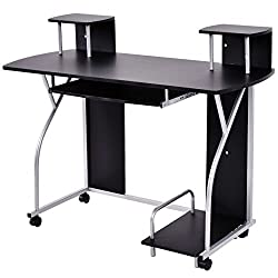 New Black Rolling Computer Desk PC Laptop Desk Pull Out Tray Home Office Workstation