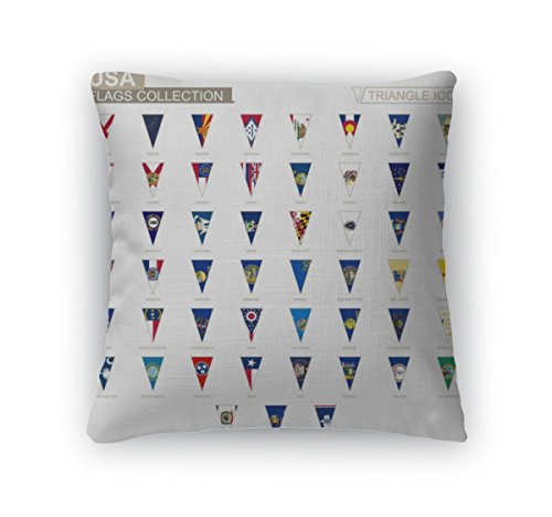 Gear New Throw Pillow Accent Decor, Flags Of USA States All State Flags Triangle Icon, 20