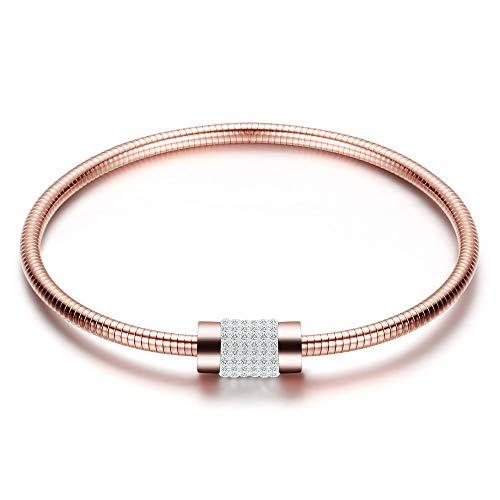 ZSML Ladies Snake Chain Bracelet, fine Inlaid Diamond Magnet Buckle Bangle, Fashion Titanium Steel Jewelry Bracelets,Rosegold