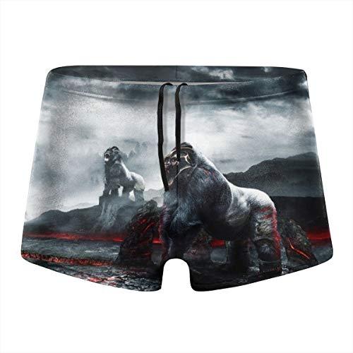 Gorillas Warriors Mist Lava Mens Compression Swimsuit Quick Dry Board Shorts Boxer Brief Tights Swimming Trunks