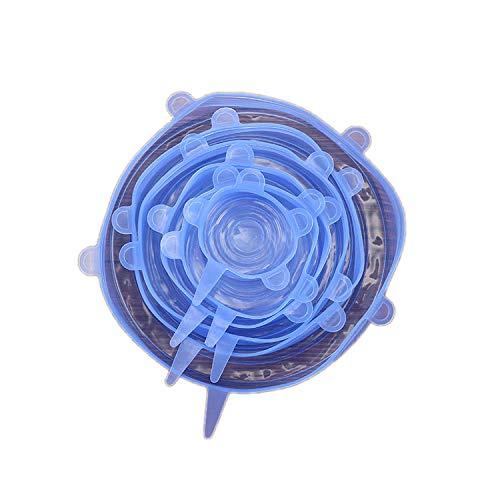 - 6 pcs/set Silicone Stretch Lids Universal Food Wrap Bowl Pot Lid Reusable Vacuum Seal Suction Cover Kitchen Accessories,Blue
