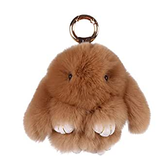 Himawari Cute Bunny Key Chain, Soft Fur Purse Charm for Women Girls Backpack Bag,Gift