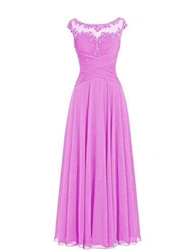A Flieder Hundkragen Damen Rock Partykleider Abendkleider Elegant Abschlussballkleider Charmant Spitze Chiffon Lang Linie FqOwpxF7z