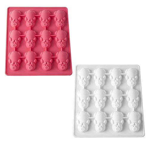 xatos Cupcake Mold Rectangle New 1/2Pc Multifunction 12 Little Pig Silicone Cake Baking White & Pink Mould Cute Cake Mold Set ()