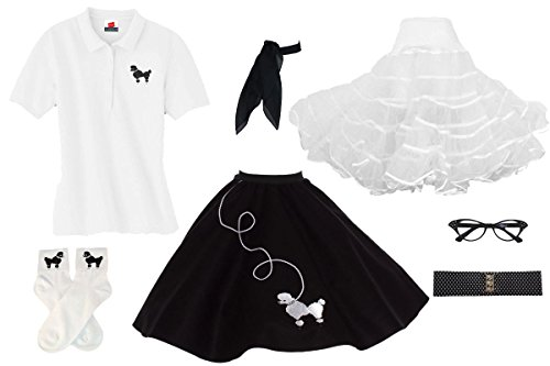 Scary Costumes 1950s - 1950s Poodle Skirt, Petticoat, Polo Shirt