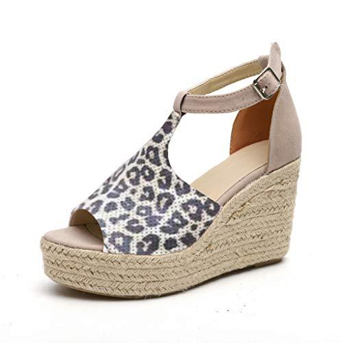 (JJLIKER Women Chunky Platform Wedges Sandals Peep Toe Ankle Buckle Strap Shoes Espadrille Non-Slip Yellow)