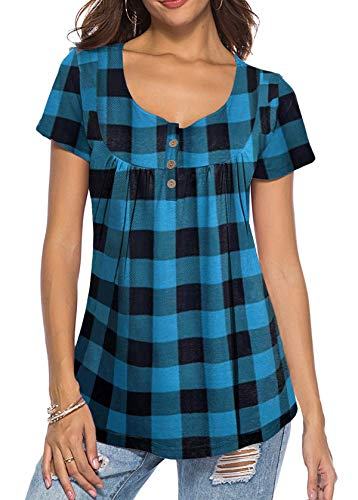 Oversized T-Shirt for Women Classic Leisure Bussiness Work Shirts with Buttons Blue XX-Large
