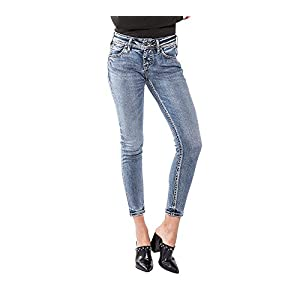 Silver Jeans Co. Women's Elyse Relaxed Fit Mid Rise Ankle Skinny