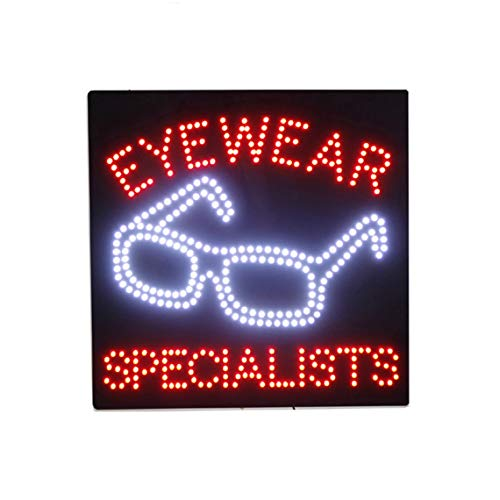 LED Eyewear Shop Open Light Sign Super Bright Electric Advertising Display Board for Eye Care Center Sunglasses Store Optometrist Optician Business Shop Window Home Bedroom 16 x 16 ()