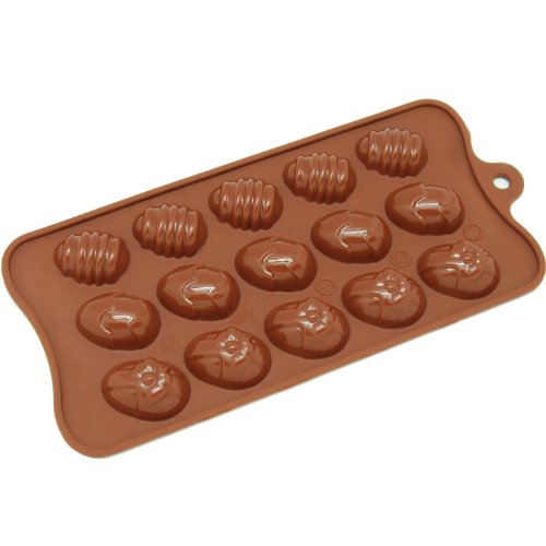 Freshware CB-605BR 15-Cavity Silicone Easter Egg Chocolate, Candy and Gummy Mold (Easter Candy Mold Chocolate)