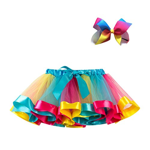 UMFun Kids Girls Tutu Party Dance Ballet Skirt Toddler Rainbow Colors Skirt+Bow Clip Hairpin Set (1~4 Years old, Multicolor)]()