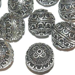 (MBX7234 Antiqued Silver 17mm Round Fancy Flower & Swirl Deco Metal Beads 20pc Making Beading Beaded Necklaces Yoga Bracelets)