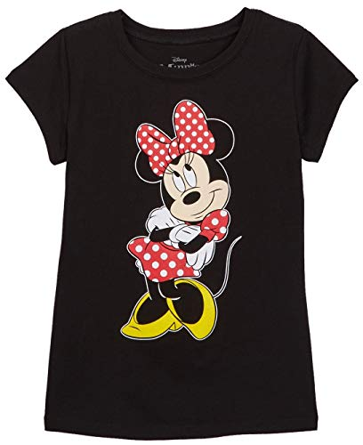 Disney Girl's T-Shirt Minnie Mouse Front and Back Print (Black, Large)