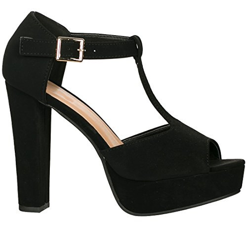 Top Moda Table-1 Women's Peep Toe Platform Chunky Heel Closed Back Buckle T-Strap Nubuck Pumps