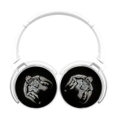 (MagicQ Viking Bear Bluetooth Headphones,Hi-Fi Stereo Earphones White)
