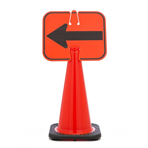 (Mutual Industries 17729-0-6 Traffic Cone -  Left Arrow Cone Sign, 13