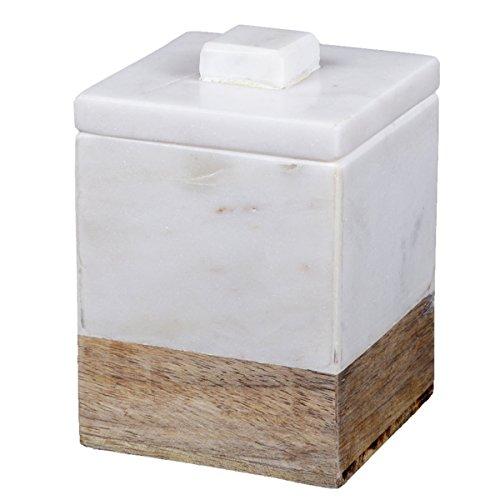 - Creative Home Natural Marble and Mango Wood Cotton Ball Swab Holder, Bathroom Countertop Organizer, 3